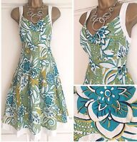 NEW EX PER UNA IVORY LIME TURQUOISE BLACK FLORAL COTTON SUN DRESS SIZE 8 - 24