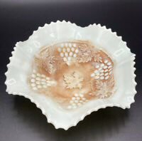 Northwood Custard Glass Grape and Cable Bowl