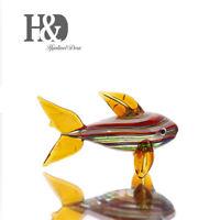 Small Fish Sculpture Hand Blown Animal Art Glass Crystal Ocean Figurine
