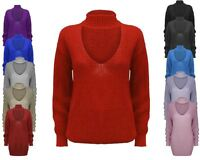 Ladies Women Knitted Choker Neck Chunky Knit Jumper Top Baggy Over sized Sweater