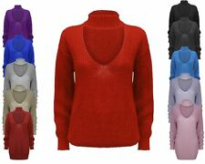 Ladies Women Knitted Choker Neck Chunky Knit Jumper Top Baggy Oversized Sweater