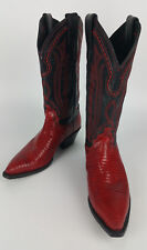 Justin Boots Womens 5 B  Lizard Red Black Western Cowboy Shoes #5191 Made in USA