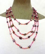 """26"""" long multi 4 row lilac glass pearl real shell pink bead necklace Holiday New"""