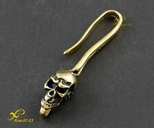 Brass Skull Hook Clasp FOB For Biker Leather Wallet Chain /keychain