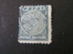 FIJI, SCOTT # 53, 1/2p.. VALUE GREENISH BLACK 1892 COAT OF ARMS ISSUE USED