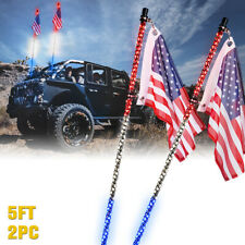 Xprite 2pcs Spiral Led Lighted Whip w/ Flagpole Antenna for Offroad Polaris Rzr