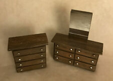 Vintage Minature Toy Doll House ~ Dresser with Mirror and Chest of Drawers