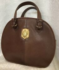Barry Kieselstein Cord Vintage Purse Round Brown Leather Turtle Logo Two Handles
