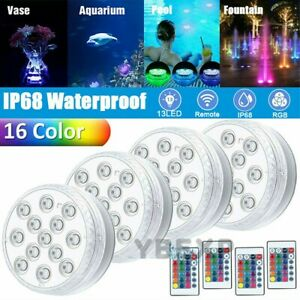 4PC Swimming Pool Light RGB LED Bulb Underwater Color Vase Decor Lights & Remote