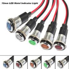 Metal 12mm LED Panel Pilot Dash Light Indicator Warning Lamp Car Van Truck Boat