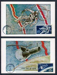 1967 Gemini Space Accomplishments Sc 1331 1332 Colorano maxi cards FDC 1332b