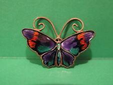 David Andersen Sterling 925S Norway Enamel Butterfly Pin Multi Color