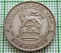 GREAT BRITAIN GEORGE V 1911 6 PENCE, SIXPENCE, SILVER HIGH GRADE