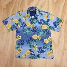 Tommy Bahama Men's S Silk Hawaiian Short Sleeve Camp Shirt Palms Flowers Cards