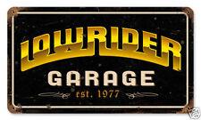 Lowrider marazine LOGO garage est. 1977 Retrò VINTAGE SIGN IN LAMIERA SCUDO SCUDO