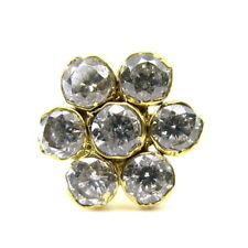 Indian Style White CZ Real Gold Push Pin Nose Stud 14K Solid Gold 17-18g