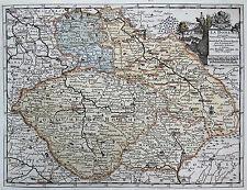 van der Aa: Altkol. orig. Kupferstich Landkarte Böhmen Mähren Schlesien; 1714