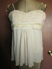 BCBG tan nude ruched tank bustier top XXS babydoll tulle trim