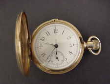 Beautiful Agassiz Chronograph Pocket Watch - Stop Watch - 14K Full Hunting Case