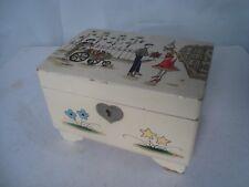 Vintage 1950s 60s Musical Jewellery Box French Lovers & Flower Seller Scene