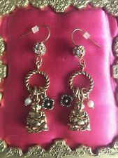Betsey Johnson Vintage Golden Buddha Pearl Crystal Charm Dangle Earrings RARE