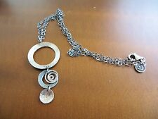 SILPADA RETIRED STERLING .925 3 CIRCLE SWIRLS OXIDIZED/ HAMMERED NECKLACE N1701