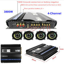 High Power 3800 Watt RMS 4-CH Channels Car Audio Power Stereo Amplifier Amp 4Ohm