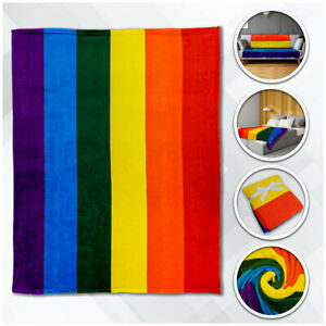 Rainbow Plush Blanket 50x60 Rainbow Pride Throw Blanket LGBT LGBTQIA+ Blanket