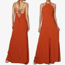 TheMogan High Halter Neck Strappy Open Back Slit Front Long Maxi Dress