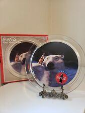 """Vintage 1995 Coca Cola Coke Platter Polar Bear Glass Bottle 13"""" Platter"""