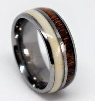 Tungsten Carbide Ring Deer Antler Koa Wood Inlay Comfort Fit Wedding Band Ring