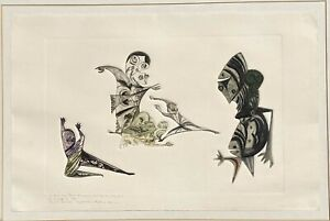GUILLERMO SILVA SANTAMARIA Print Surreal Signed #22 1961 Bizarre Monster Figures