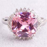 Fashion Princess Cut Pink & White Topaz Gemstone Silver Ring Size 7 8 9  10 11