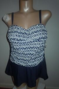 Tropical Escape Women's Skirted Swimsuit - blocked Navy & white sz 22 NWT $82 *
