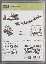 Stampin Up COZY CHRISTMAS Set of Clear Mount Rubber Stamps - Santa Sleigh House