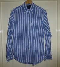 """QUALITY FACONNABLE MIXED BLUE STRIPED COTTON """"CLASSIQUE """" SHIRT, MENS SMALL"""