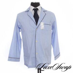 NWT Brooks Brothers Blue White Multi Stripe MOP Button 2PC Pajamas Set S NR