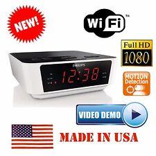 1080P Full HD WiFi IP Hidden Spy Camera Alarm Clock Radio Motion Detection DVR w