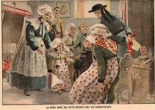 IMAGE 1910 ? PRINT BONNE ANNEE DES ENFANTS CHEZ GRANDS PARENTS COSTUMES