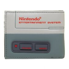 NINTENDO NES CONSOLE CLASSIC LOGO PU FAUX LEATHER RETRO MENS BIFOLD WALLET GREY