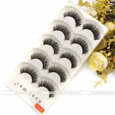 Pro 5 Pair Hand-make Fiber False Eyelash Extension Dense Soft Slender Makeup a