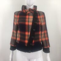 L.A.M.B. Womens Jacket Black Red Plaid Asymmetric Buttons Lined Knit Trim S