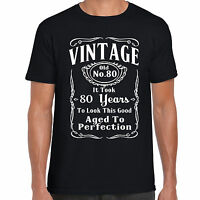 grabmybits - Vintage 80th Birthday T Shirt - Funny,Gift, 80 Years Old, Retirment