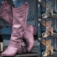 Winter Women Faux Suede Boots Pointed Toe Mid-calf  Boot Flat Shoes Snow Boots^