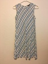 Warehouse UK 10 USA 6 / 7 Light Blue White Black Plaid Sleeveless Sun Dress