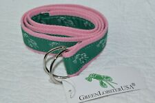 Women's Woven Ribbon Belt Pink & Green Lobsters D Rings - NEW WITH TAG! Size M
