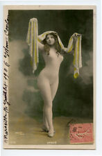 c 1906 Nude French RPPC Real Photo Postcard BODY STOCKING CUTIE Long Hair Haired