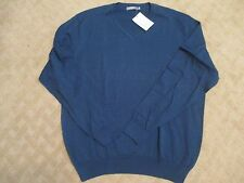 MFH Knits Men's Blue V Neck Sweater Pima Cotton- Size XL- NWT