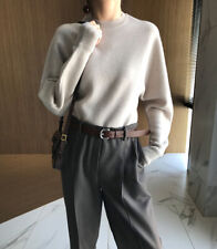Women Chic Timeless The Row-Style 100% Wool Sweater in oatmeal