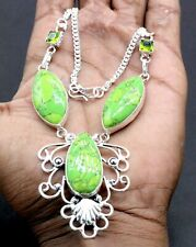 """925 Sterling Silver Turquoise & Peridot Gemstone Jewelry Necklace Size-17-18"""""""